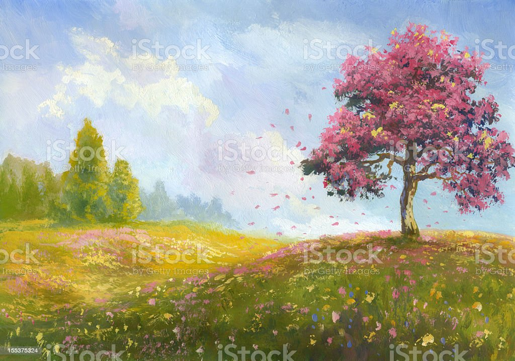 A painting of a hillside featuring a blossoming tree royalty-free a painting of a hillside featuring a blossoming tree stock vector art & more images of art