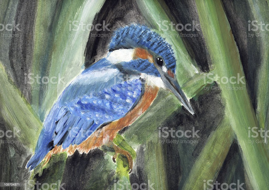 painting of a king fisher royalty-free stock vector art