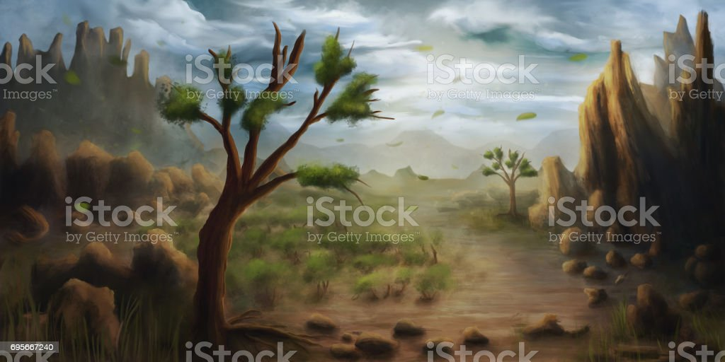 Painting of a landscape with trees and mountains on a windy, cloudy day vector art illustration
