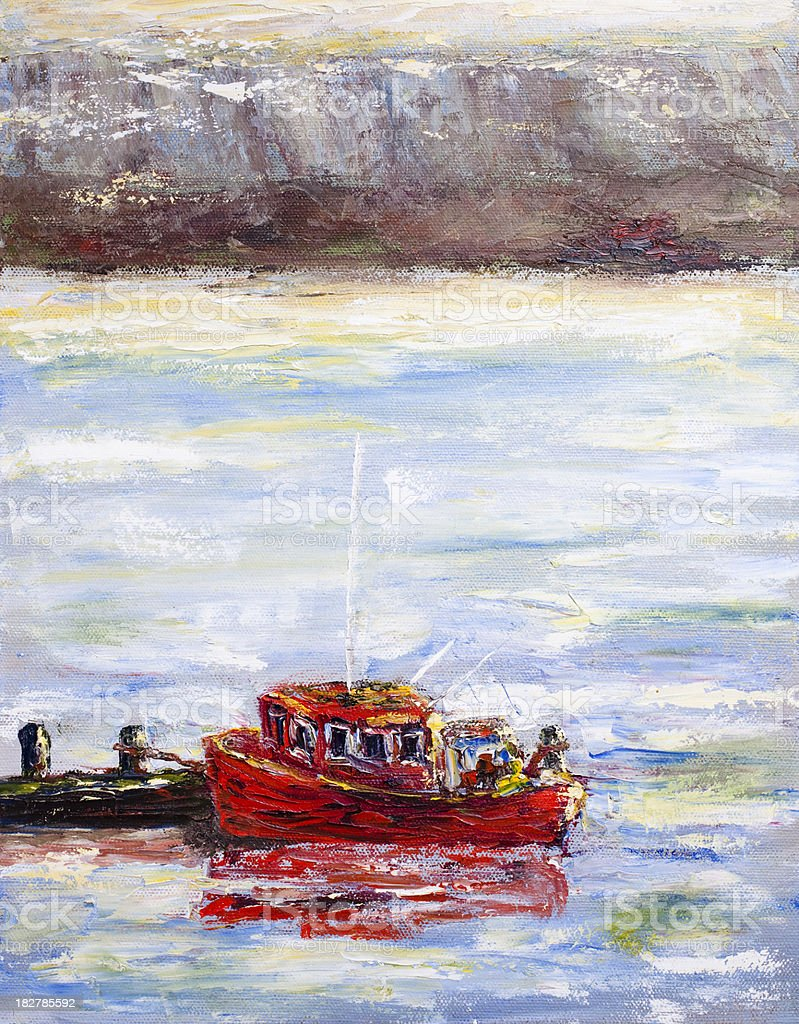 Painting of a red tug boat  near the docks. royalty-free painting of a red tug boat near the docks stock vector art & more images of acrylic painting