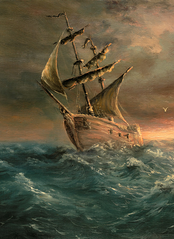 A painting of a ship that has just made it through a storm