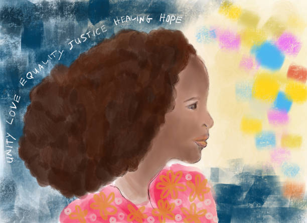 Painting of a Young African woman profile view vector art illustration