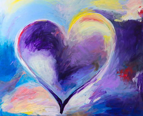 Painting of abstract Heart with acrylic colors