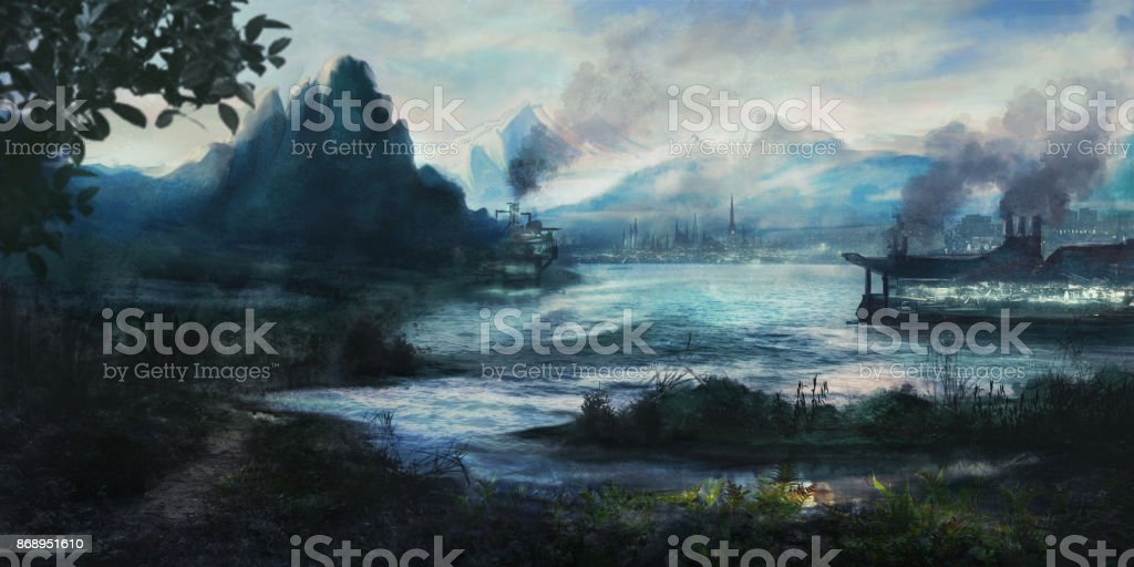 Painting of an idyllic landscape with an imaginary city vector art illustration