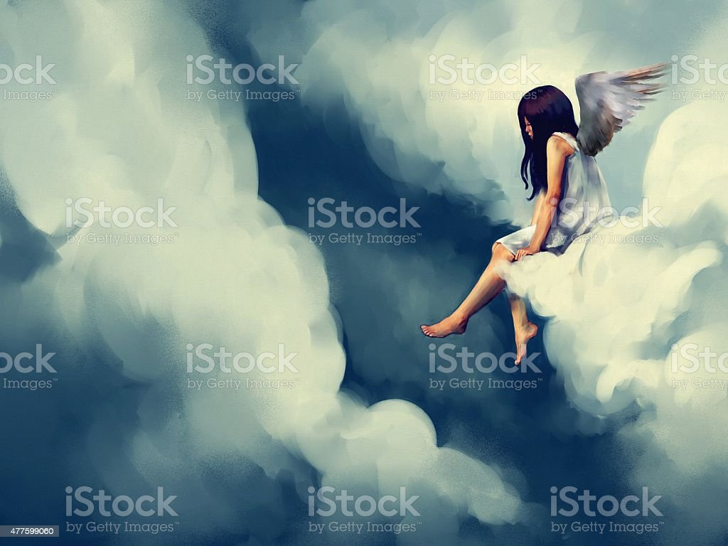 painting of Beautiful angel sitting on a cloud vector art illustration