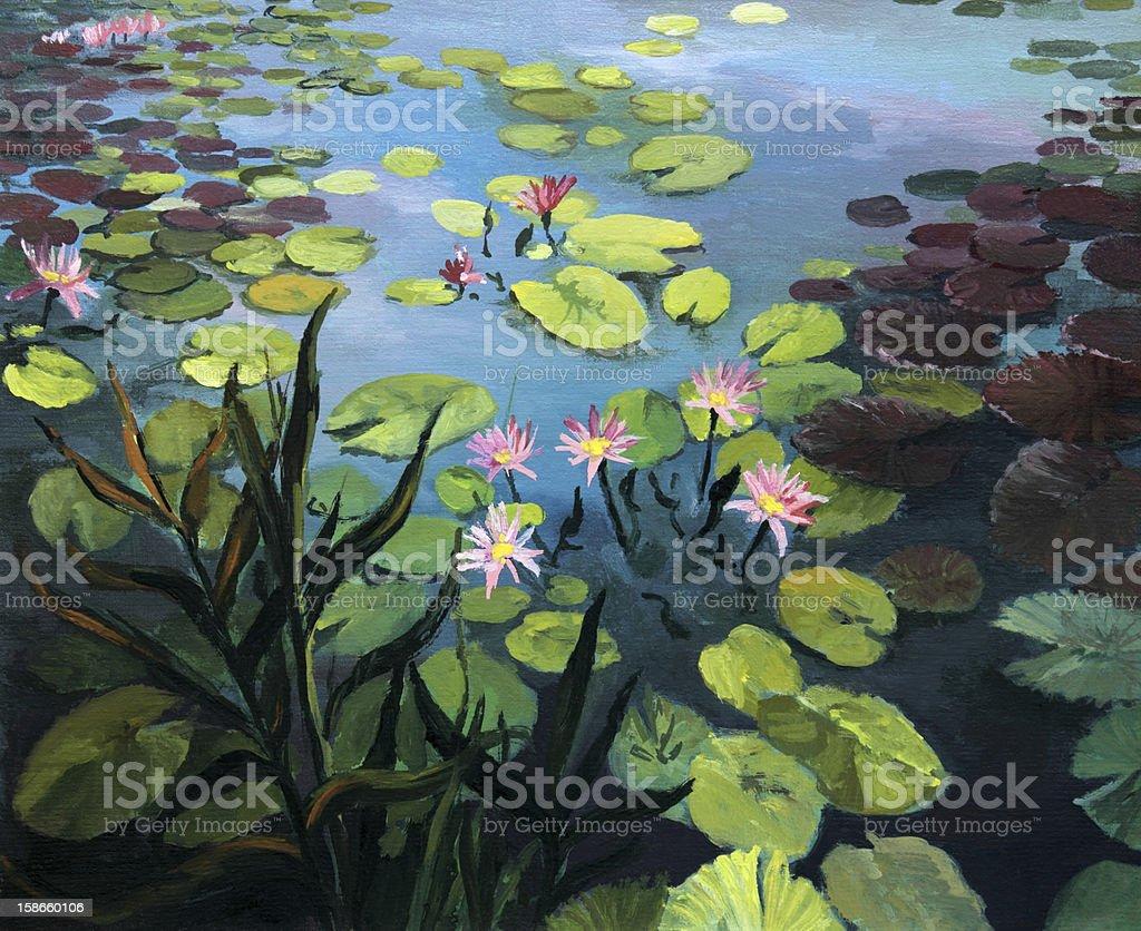 Painting of beautiful, pink lotus flowers vector art illustration