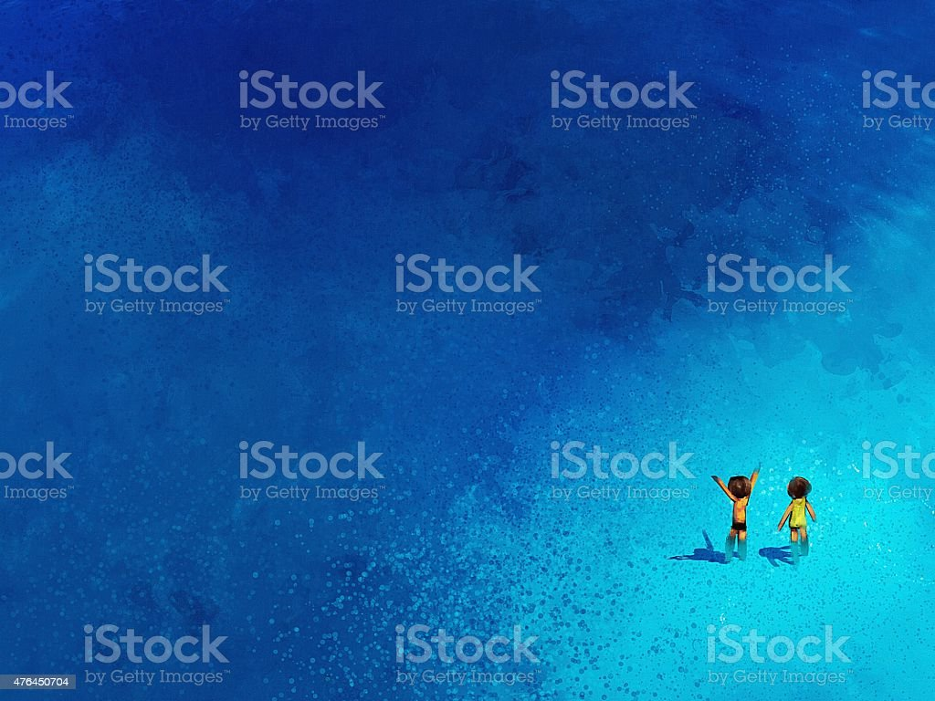 painting of boy and girl playing on the beach vector art illustration