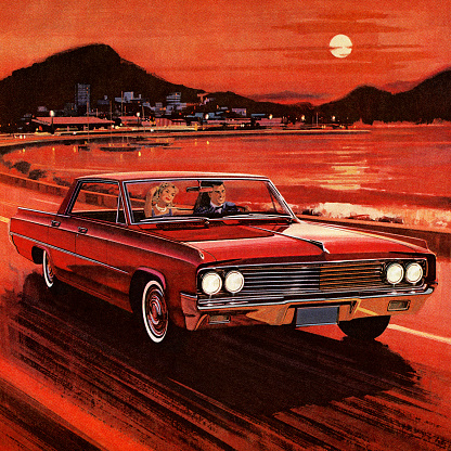 Painting of couple driving in red vintage car