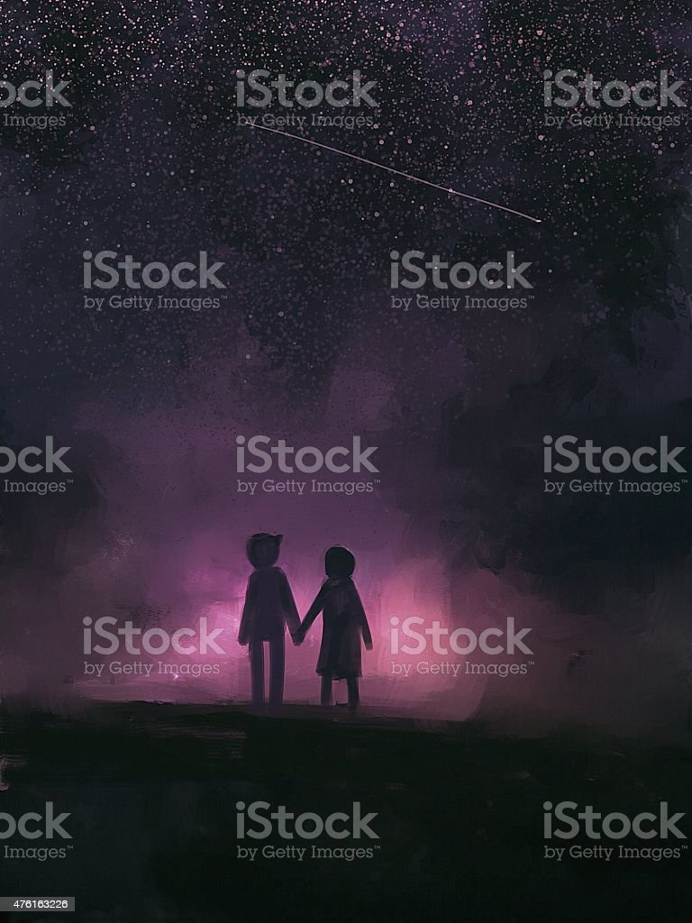 painting of couples holding hands under the stars. vector art illustration