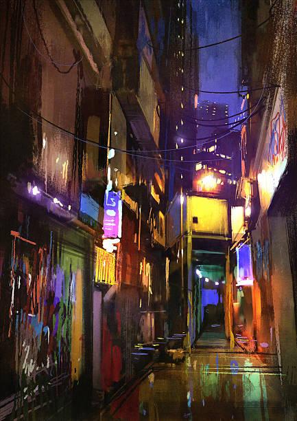 bildbanksillustrationer, clip art samt tecknat material och ikoner med painting of dark alley at night - gränd
