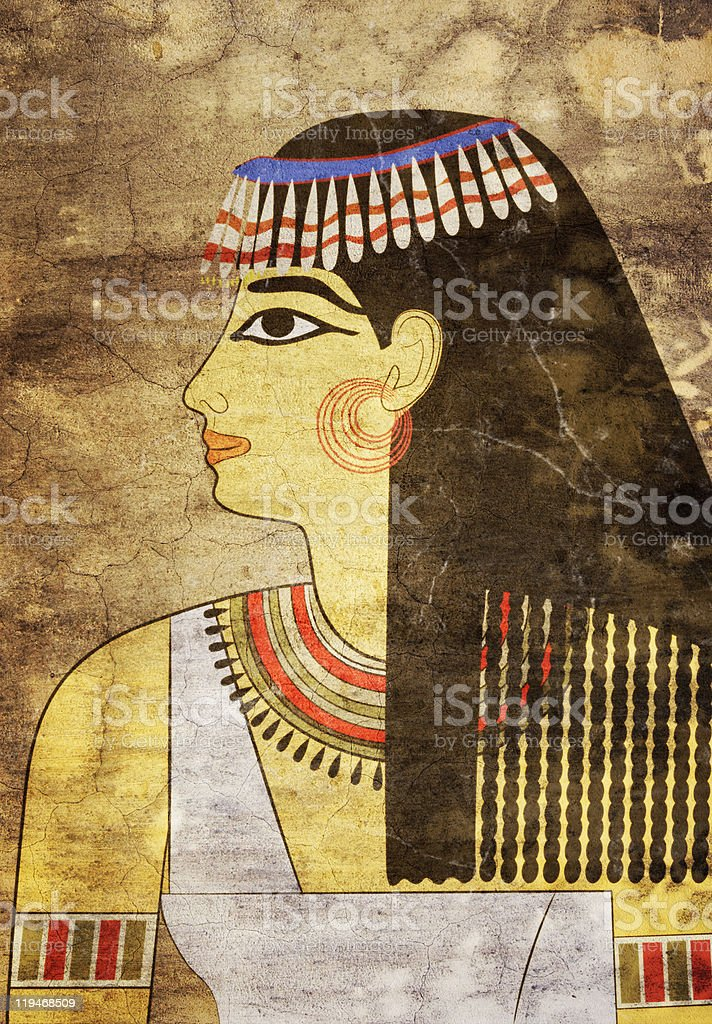 Painting of Egyptian woman on papyrus paper royalty-free stock vector art