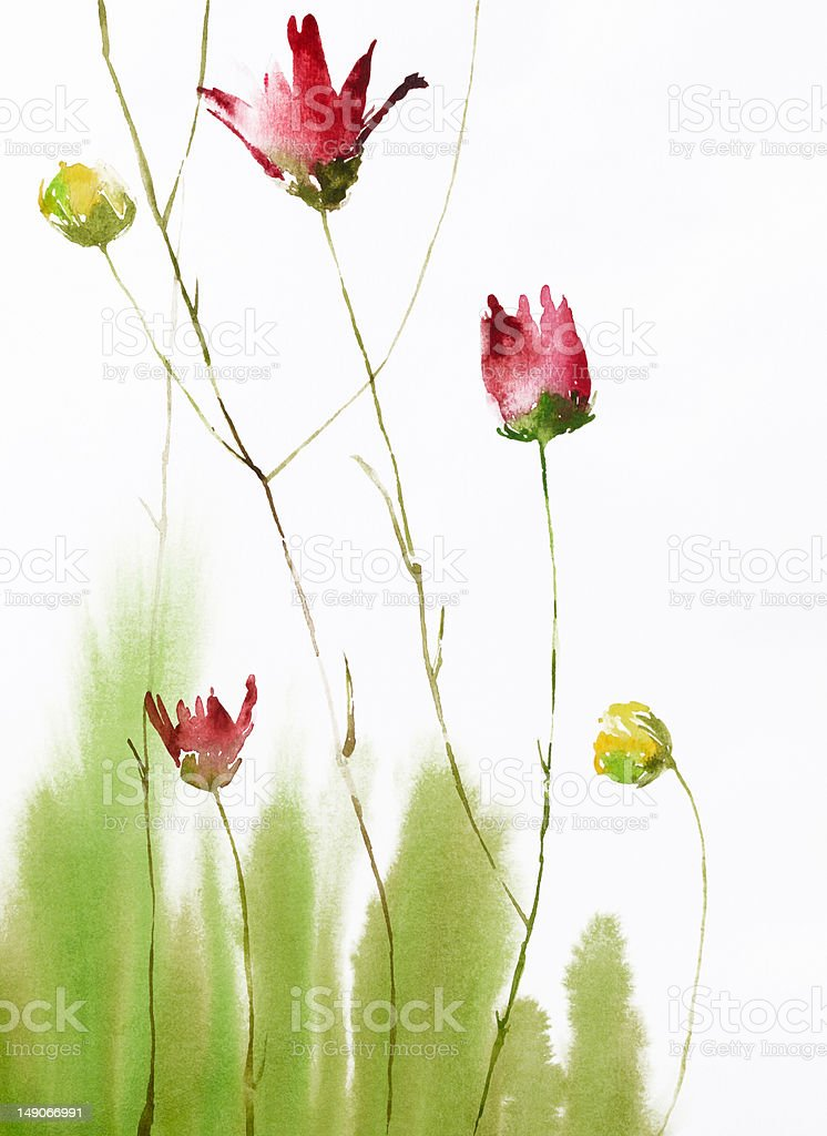 painting of flowers royalty-free stock vector art