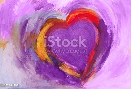 Abstract Heart, painted with acrylic colors on paper. With red, pink and purple.  My own work.