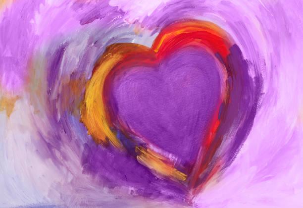 Malerei des Herzens mit Acrylfarben – Vektorgrafik
