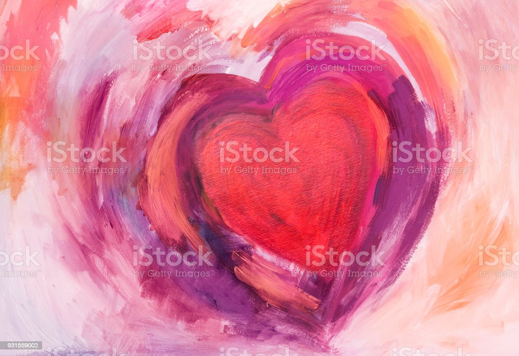 Painting of Heart with acrylic colors Abstract Heart painted with acrylic colors on paper. With red, pink and purple.  My own work. Abstract stock illustration