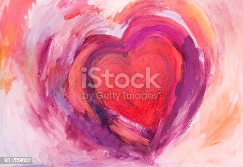 Abstract Heart painted with acrylic colors on paper. With red, pink and purple.  My own work.