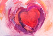 Painting of Heart with acrylic colors