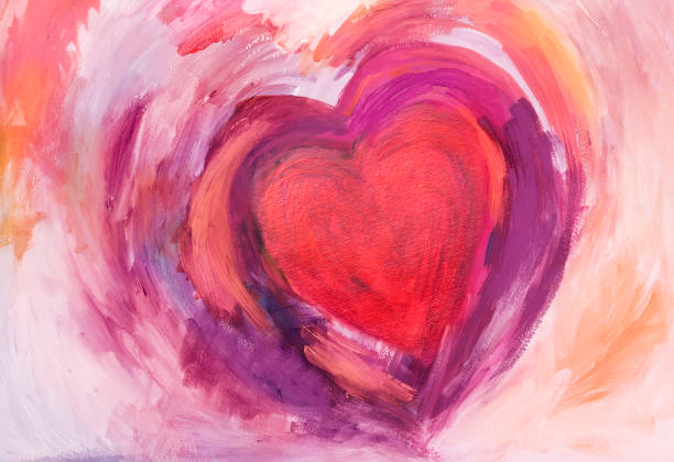 Painting of Heart with acrylic colors Abstract Heart painted with acrylic colors on paper. With red, pink and purple.  My own work. love emotion stock illustrations