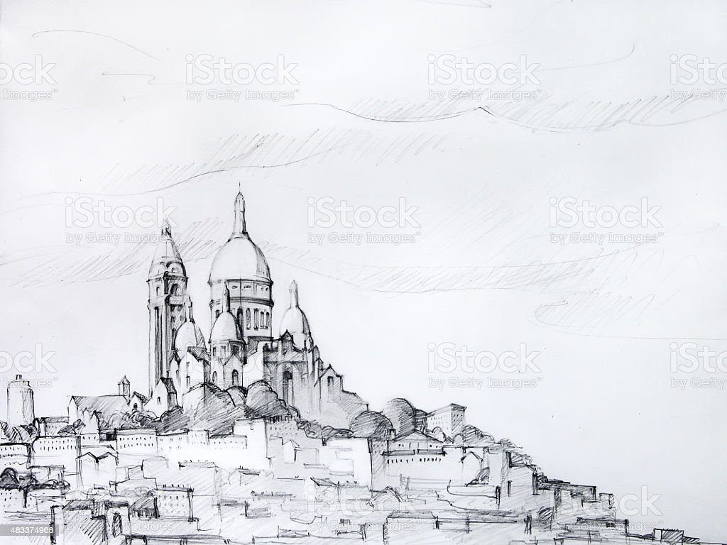 Painting of Paris, painted by pencil vector art illustration