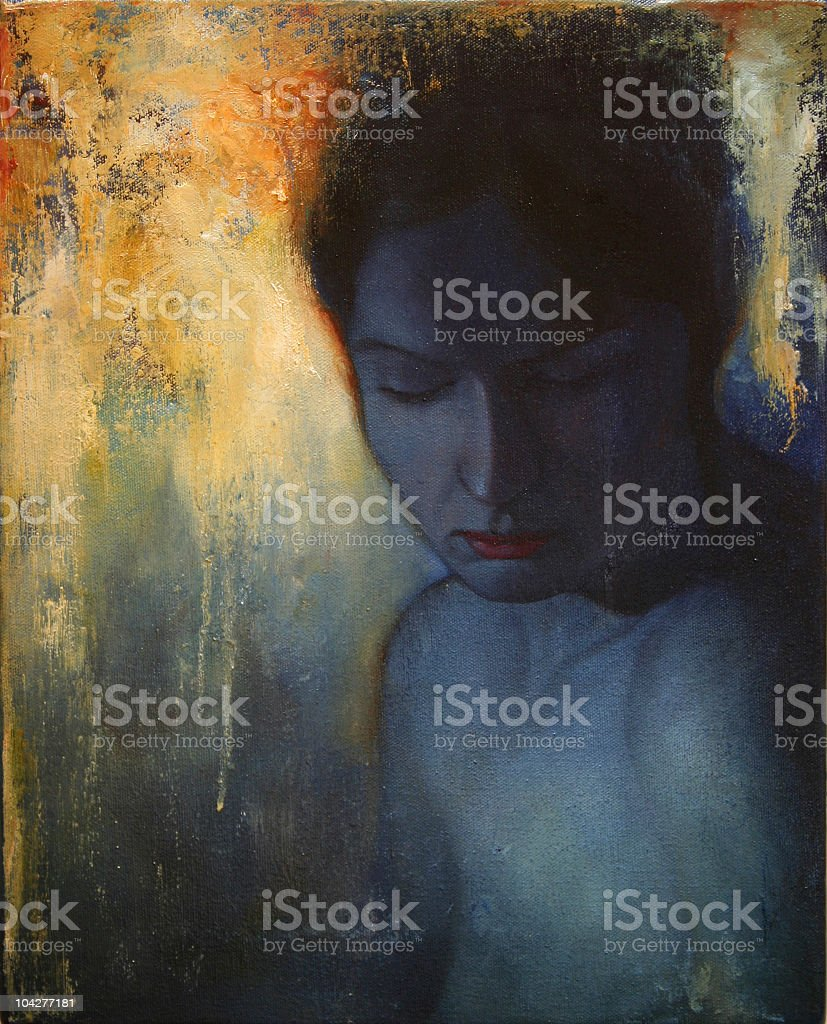 Painting of person feeling lost vector art illustration