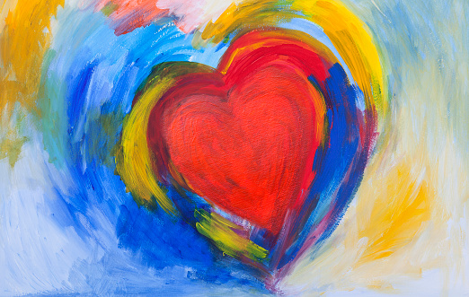 painting of Red and blue abstract Heart