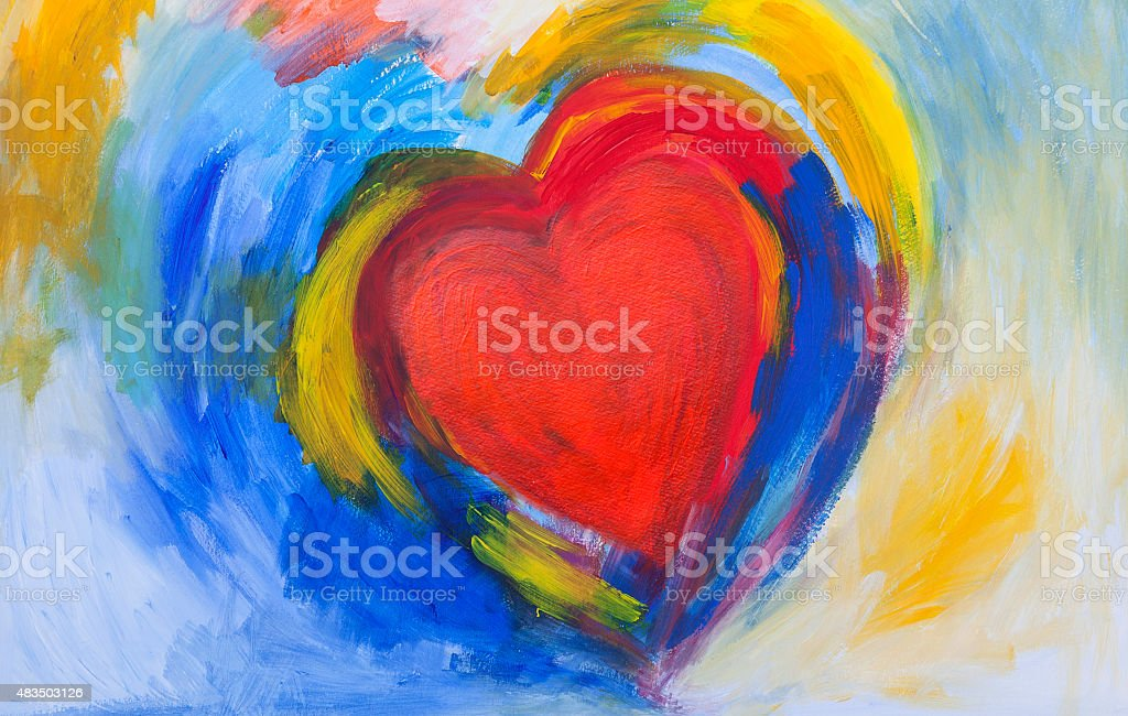 painting of Red and blue abstract Heart vector art illustration