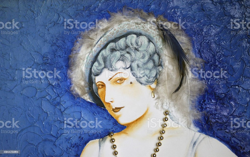 Painting of rich wealthy woman with feather hat vector art illustration