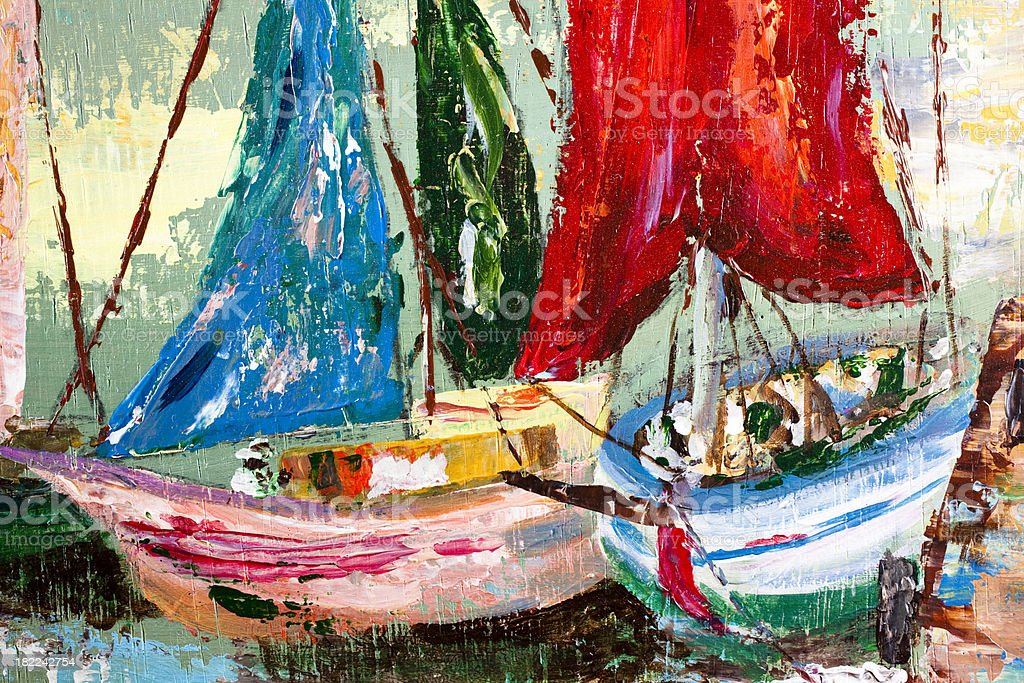 Painting of sailing ships near the docks. Acrylic oil. Original. royalty-free stock vector art