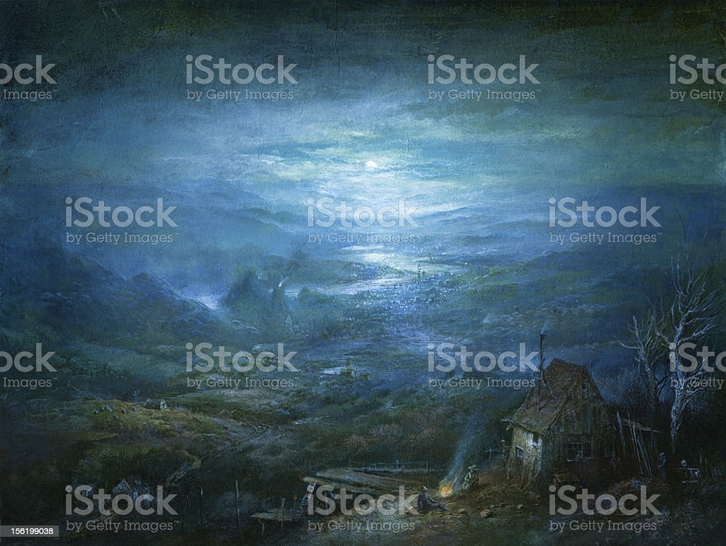 Painting of small house and landscape under moonlight royalty-free painting of small house and landscape under moonlight stock vector art & more images of barn