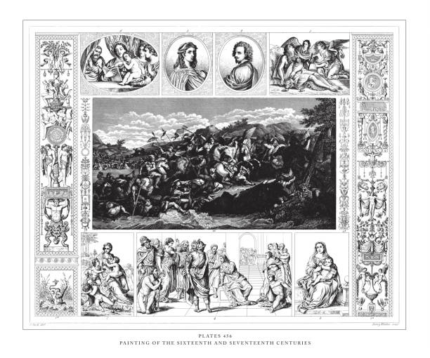 illustrazioni stock, clip art, cartoni animati e icone di tendenza di painting of the sixteenth and seventeenth centuries engraving antique illustration, published 1851 - ferragosto