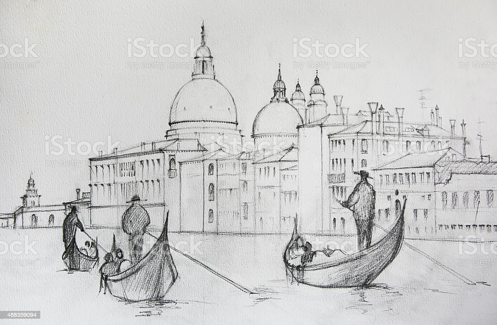 Painting of Venice, Italy vector art illustration