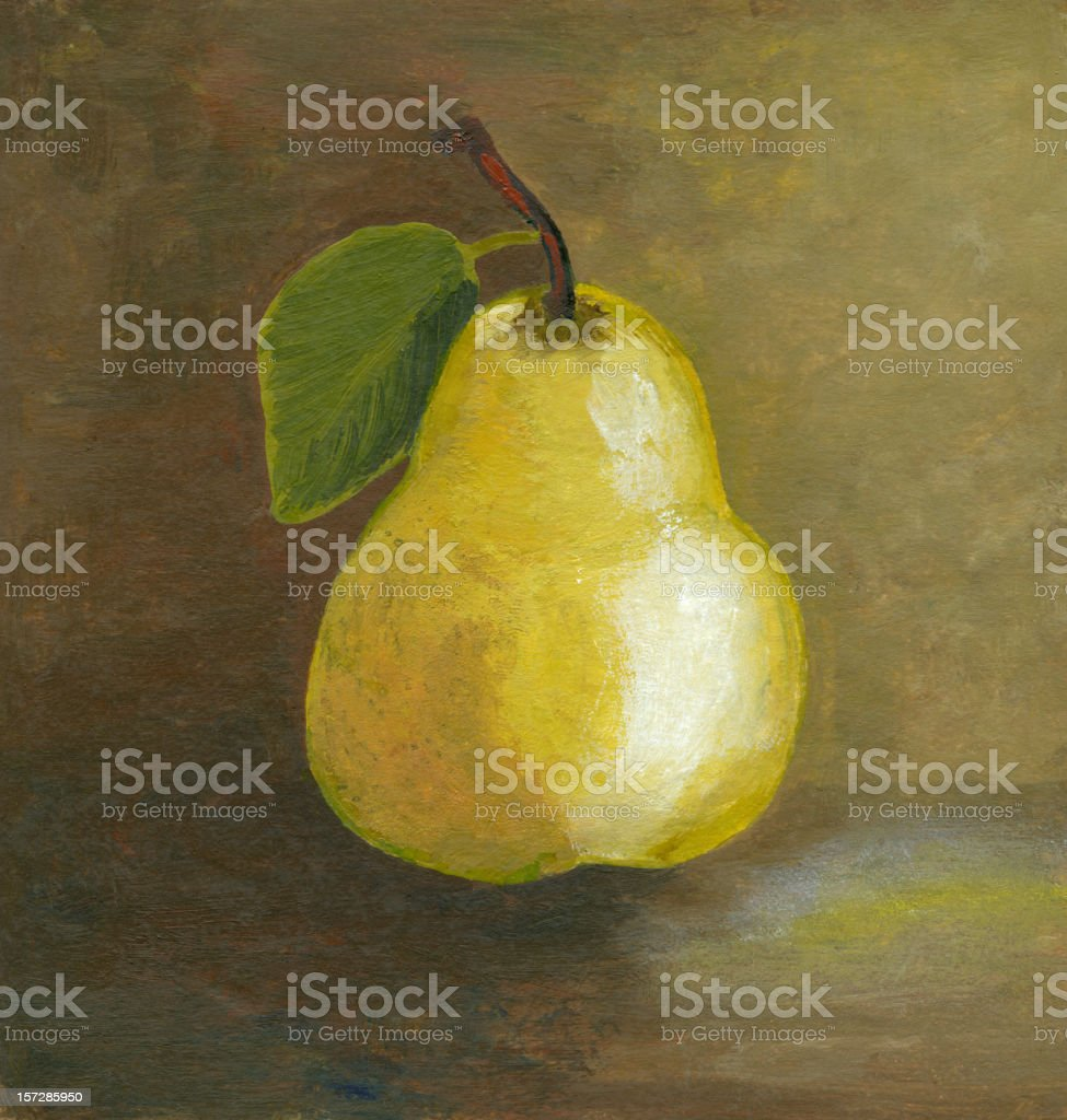 Painting of yellow pear vector art illustration