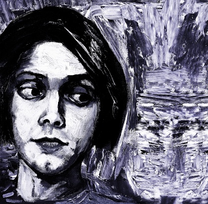 Painting, portrait of a young man painted with palette knife