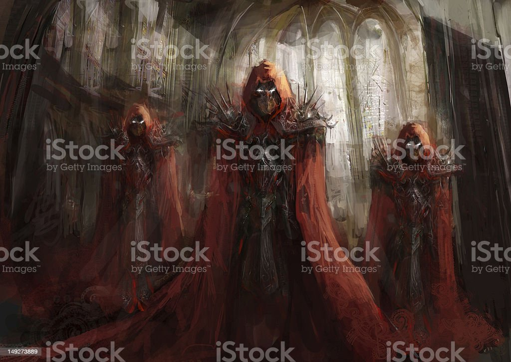 Painting representation of three powerful sorcerers vector art illustration