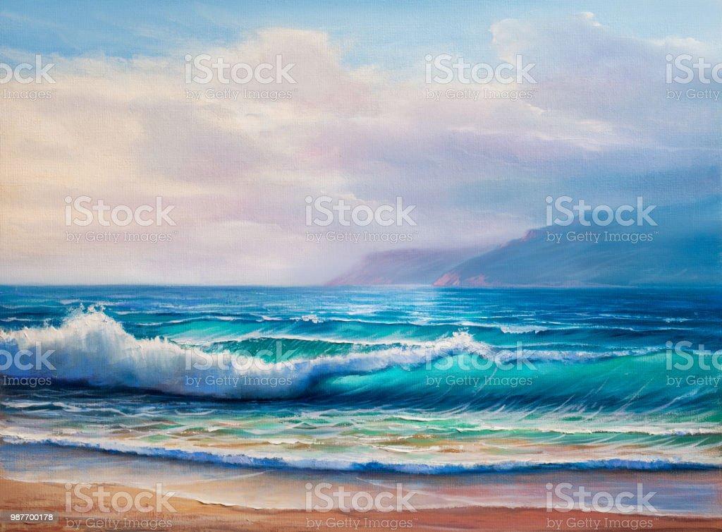 Resim Deniz Manzarasi Stok Vektor Sanati Akrilik Boyama Nin Daha