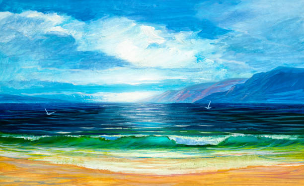 painting seascape. sea wave. - artsy backgrounds stock illustrations