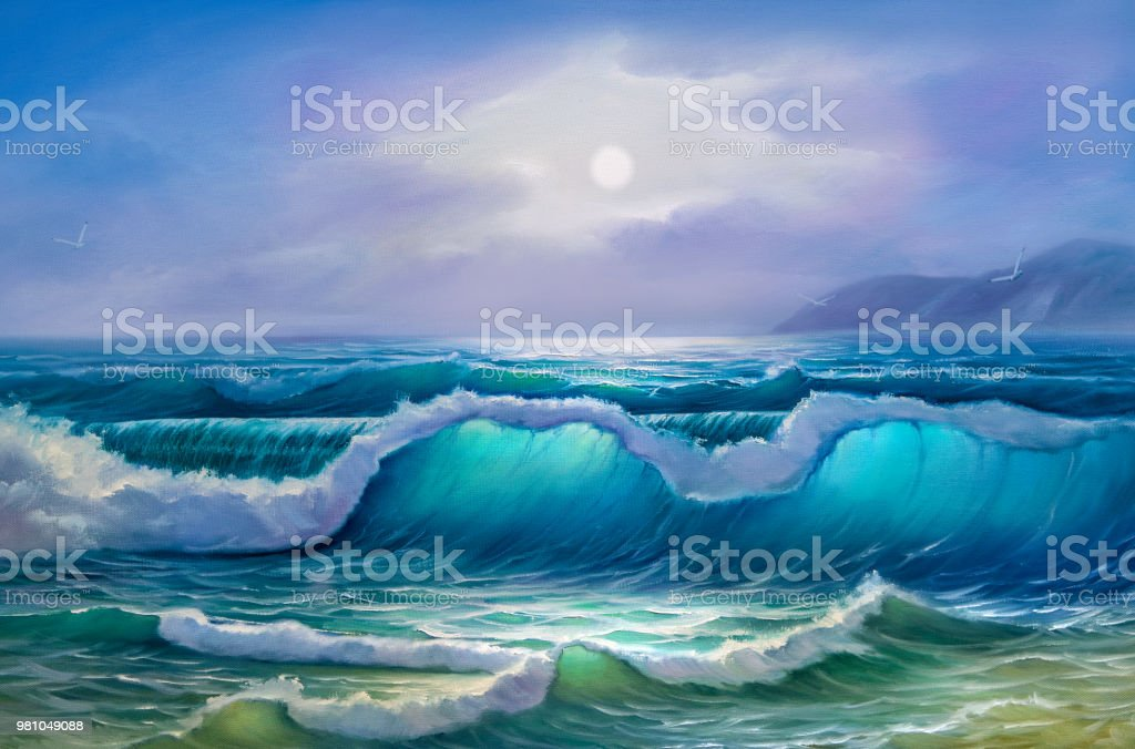 Painting seascape. Sea wave Original oil painting of sea and beach on canvas. Rich golden Sunset over sea. Modern Impressionism. Acrylic Painting stock illustration