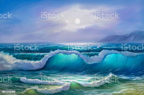 Painting Seascape Sea Wave Stock Illustration - Download Image Now
