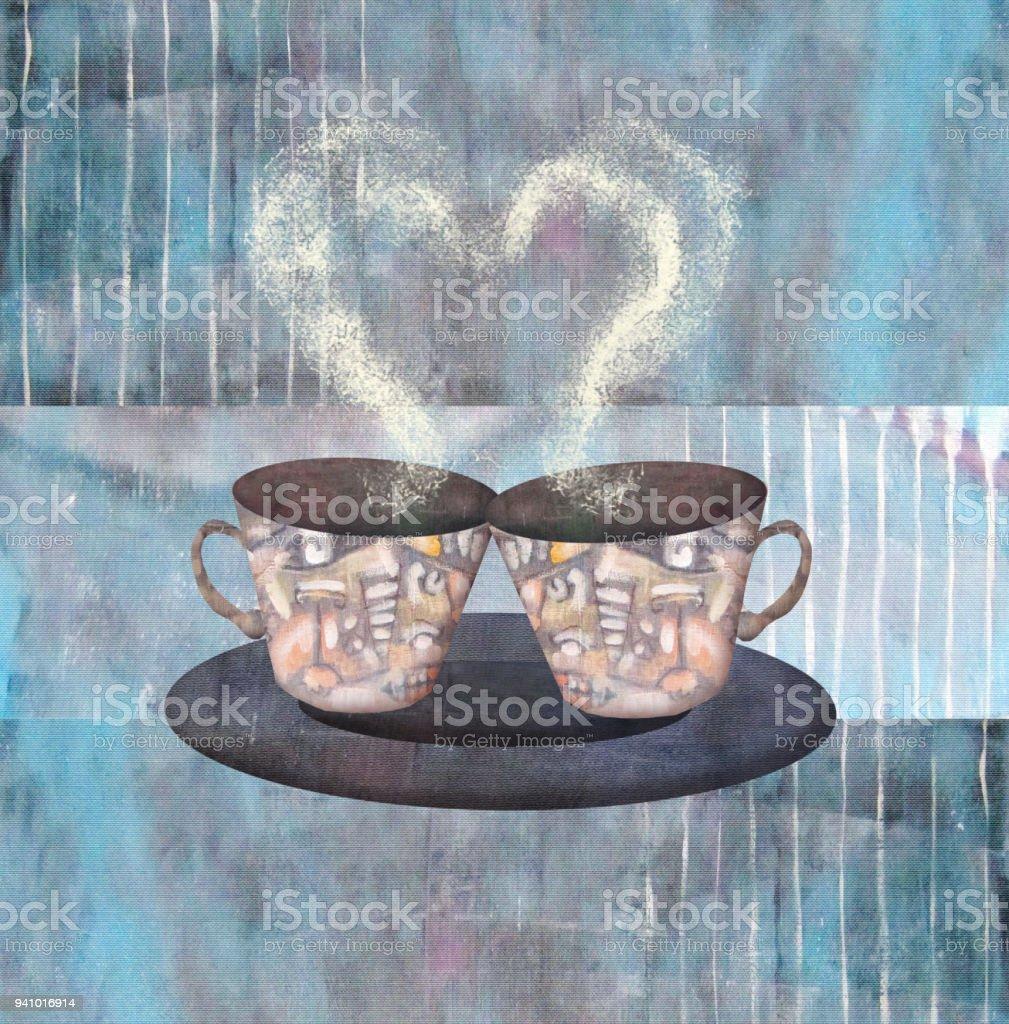 Iki Fincan Kahve Ya Da çay Kalp Ile Boyama Stok Vektör Sanatı