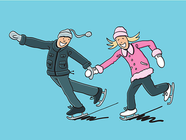 """Pair Ice Skating Fun """"Sketchy vector illustration of a happy Couple doing Ice Skating. Line art, color and background are on separate layers, so you also can use the illustration on your own background. The colors in the .eps-file are ready for print (CMYK). Included files: EPS (v8) and Hi-Res JPG."""" winter sport stock illustrations"""