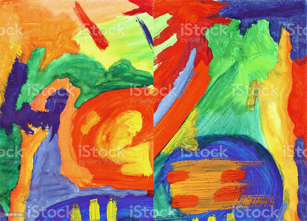 Pair of art abstract paintings vector art illustration