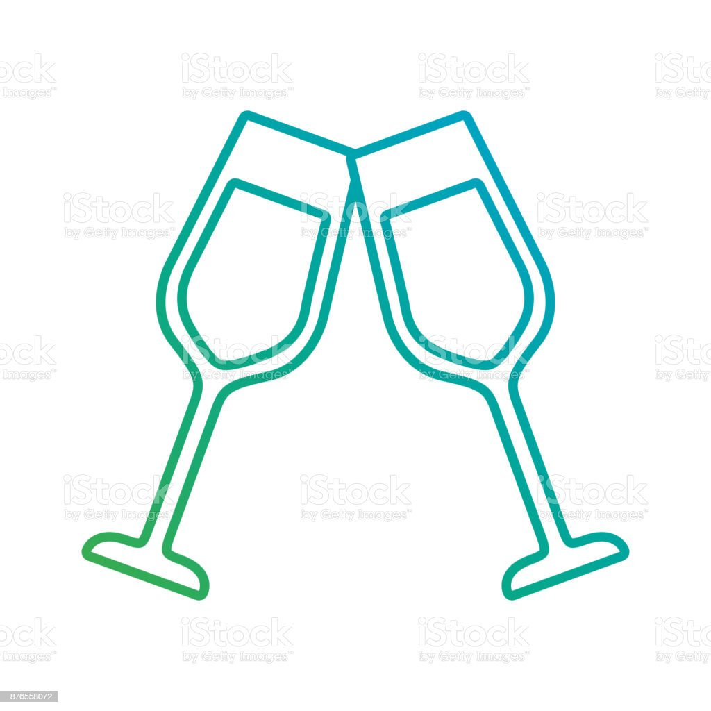 pair of champagne glass cheers drink celebration christmas vector art illustration