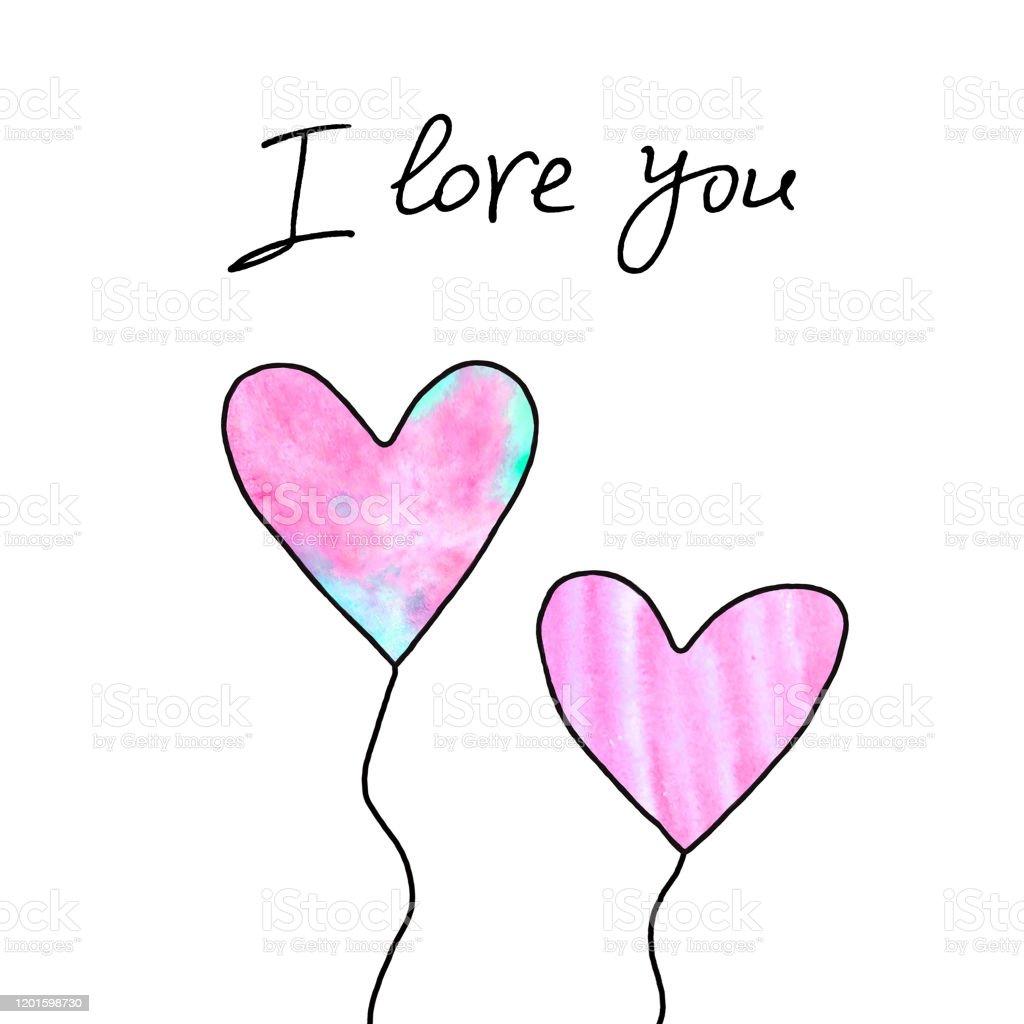 白い背景に孤立したピンクのハートのペア愛ロマンスのシンボルはがきのテンプレートバレンタインデー誕生日母の日グリーティングカードウェブのための簡単な イラスト I Love Youのベクターアート素材や画像を多数ご用意 Istock