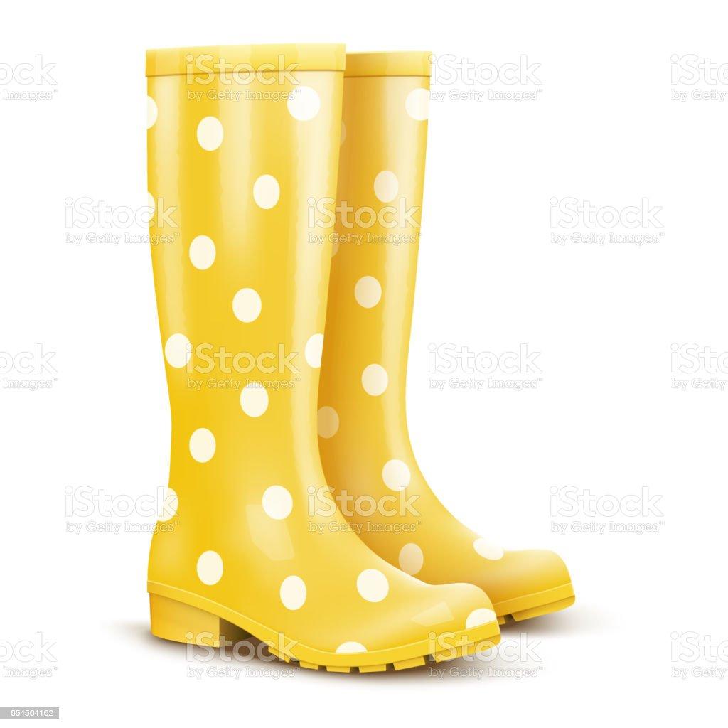 Pair of pink rain boots vector art illustration