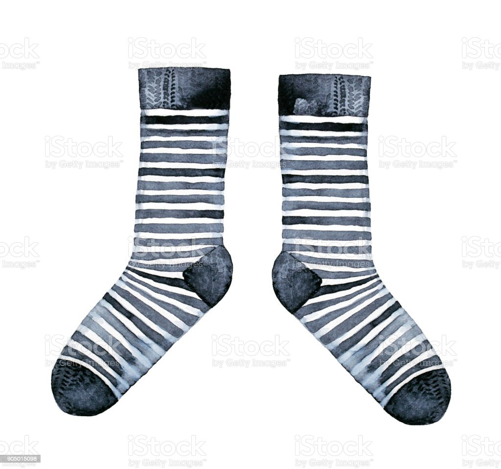 Pair of striped socks, black and white classic design. vector art illustration
