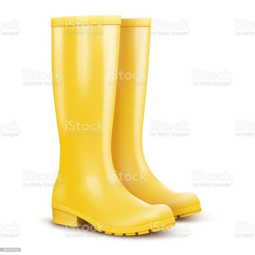 Pair of yellow rain boots vector art illustration