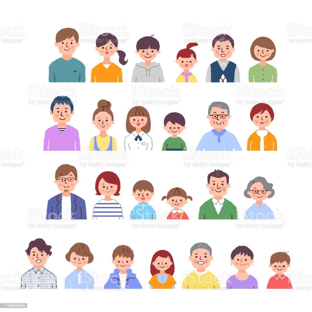 3代目家族笑顔4組 Dnaのベクターアート素材や画像を多数ご用意 Istock