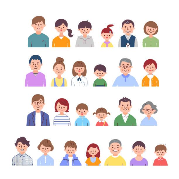 3代目家族笑顔(バスト)4組 - 親子点のイラスト素材/クリップアート素材/マンガ素材/アイコン素材