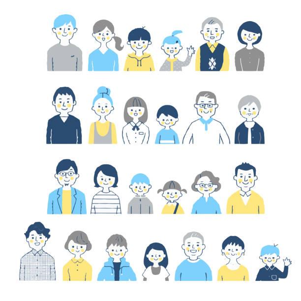 3代目家族笑顔(バスト)4組 - 男性 笑顔点のイラスト素材/クリップアート素材/マンガ素材/アイコン素材