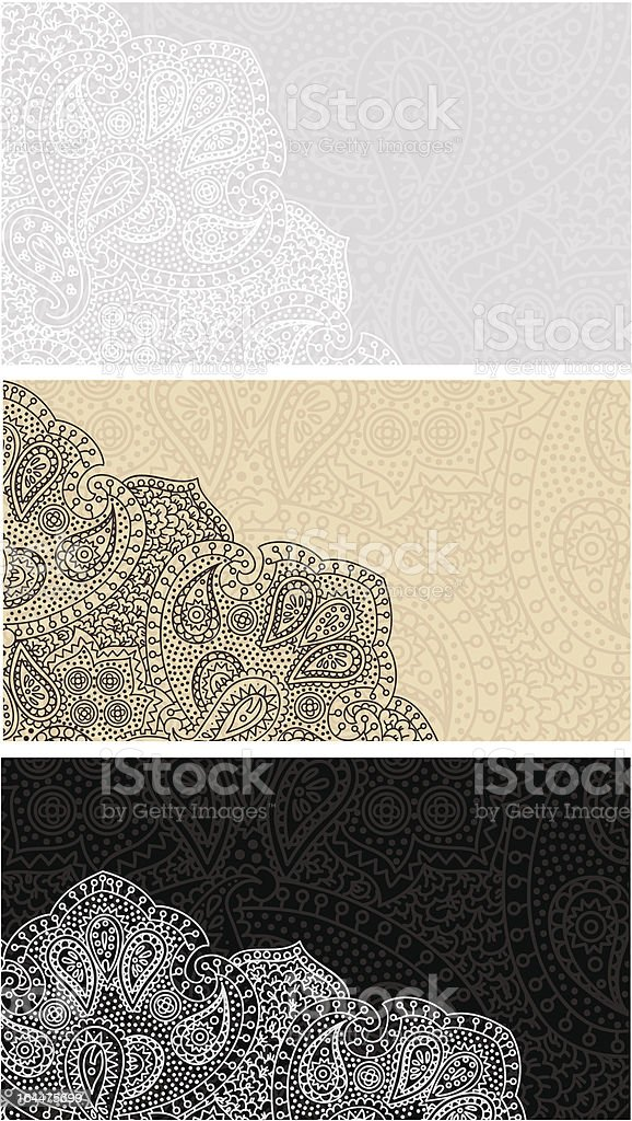 Paisley Lace Business Cards Set stock vector art 164475699 | iStock